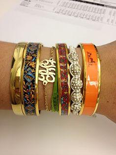 Hermes enamel bangles and monogram bracelet Jewelry Accessories, Fashion Accessories, Hermes Bracelet, Monogram Bracelet, Arm Party, I Love Jewelry, Bangles, Stacking Bracelets, Layered Bracelets