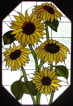 Sunflower Window by Creative-Services on DeviantArt Stained Glass Quilt, Faux Stained Glass, Stained Glass Designs, Stained Glass Panels, Stained Glass Projects, Stained Glass Patterns, Leaded Glass, Mosaic Flowers, Stained Glass Flowers