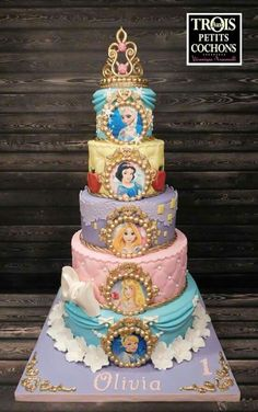 Princess Cake on Cake Central - birthday Cake Ideen Disney Princess Birthday Cakes, Disney Birthday, Birthday Cake Girls, 5th Birthday, Princess Birthday Centerpieces, Rapunzel Birthday Party, Frozen Birthday Cake, Princess Cupcakes, Beautiful Cakes