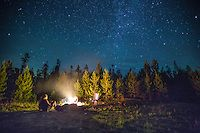 Campfire In the Pines under the Starry Sky, Encampment, Wyoming - Horizonal | Archive & Galleries - Seneca Creek Photography