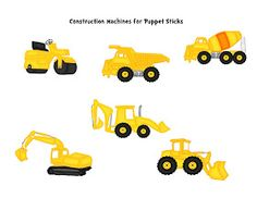Preschool Printables: Free Construction Machines Puppet Sticks