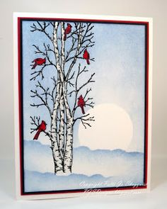 Cardinals in the Birch Trees