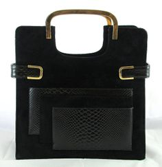 Vintage Bloek Black Suede and Reptile Skin Handbag by GhicChicBoutique, $65.00