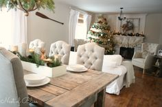 Beautiful combination of rustic and clasic.  Love the neutrals throughout.  Christmas Tour - Farmhouse living room