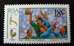 Rugby stamp from South Africa Springboks Go Bokke, My Land, Beaches In The World, Most Beautiful Beaches, African History, Postage Stamps, Rugby, Wwii, South Africa