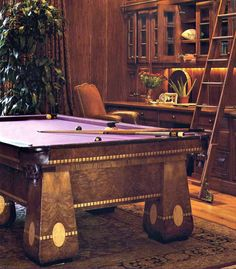Pool Table - The Medalist Antique Pool Table - APT9200