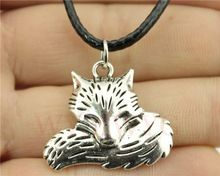 WYSIWYG fashion antique silver color 24*28mm fox pendant leather necklace(China (Mainland))