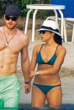 Meghan Markle wearing Mykita Timothy Sunglasses, Solid & Striped Morgan Triangle Bikini and Madewell x Biltmore Panama Hat