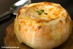 Onion soup served in bread