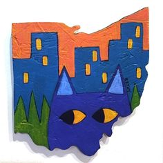 """Today's artwork for my """"Drawing a Day"""" project """"Meow-hio"""" is actually not a drawing. It is a painting on wood cut out in the shape of the state of Ohio. I thought I would add it into the auctions since it is a new idea for me to use the Ohio shaped surface for a painting. I hope that you like it!  For an artistic challenge I am making a drawing every day in November. Each drawing will be placed for auction on here on my blog. The bidding on today's drawing starts at just $30 and the BUY NOW…"""