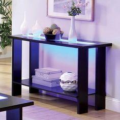 Furniture of America Lumi LED Lights Espresso Sofa Table