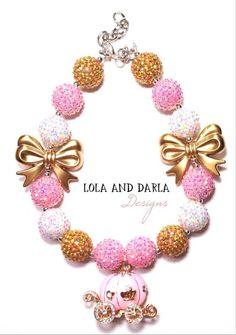 Princess Sparkle necklace chunky necklace by LolaandDarlaDesigns (Diy Necklace Chunky) Chunky Bead Necklaces, Bubble Necklaces, Chunky Jewelry, Chunky Beads, Girls Necklaces, Beaded Necklaces, Toddler Jewelry, Kids Jewelry, Jewelry Crafts