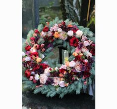 Barwne Wspomnienia, wieniec / wiązanka pogrzebowa, śr.60cm - tendom.pl Funeral Flowers, Floral Wreath, Wreaths, Home Decor, Flower Crowns, Door Wreaths, Room Decor, Home Interior Design, Floral Arrangements