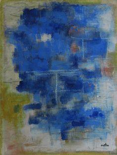 "Serie ""out of the blue""9 Gouache, Kreide in Passepartout 50x60"