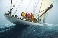The J-class yacht Velsheda was designed by C.E. Nicholson and built in 1933. Between 1933 and 1936 she won many races and competed with other great yachts such as Britannia, Endeavour and Shamrock V. She was rescued in 1984 then relaunched after a complete rebuild in 1997.
