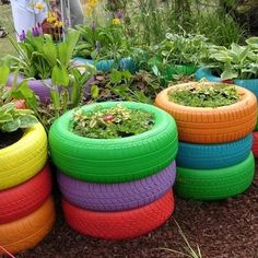 The kids would love having colorful tires/planters in the yard....