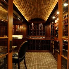 Wine Cellar - Mark wishes! Caves, Wine Cellar Racks, Home Wine Cellars, Wine Cellar Design, Lounge Design, Secret Rooms, Wine Bottle Holders, Vintage Bar, Wine Fridge