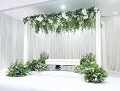 Clean design for last weekend majlis bertandang. For this design, our team carefully arranged the hanging flowers and we are happy with the… Diy Wedding Archway, Wedding Backdrop Design, Wedding Reception Design, Wedding Reception Backdrop, Wedding Mandap, Diy Wedding Flowers, Wedding Receptions, Wedding Ideas, Blue Wedding Centerpieces