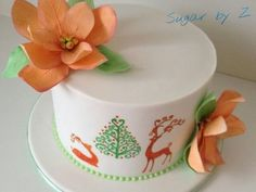 Peach and Green Xmas cake  Cake by SugarbyZ