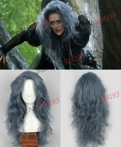 Free shipping New Movie Into the Woods Long Wavy Grey Witch Wig Synthetic Anime Cosplay Wig Heat Resistant Wig-in Wigs from Beauty & Health on Aliexpress.com | -$25