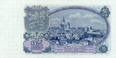 CzechoslovakiaP84-25korun-1953_b-donated Old Coins, Vintage World Maps, Retro, Banknote, European Countries, Czech Republic, Crowns, Stamps, Beautiful