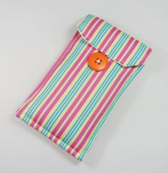 Pink, Green and Yellow Striped Fabric Padded Glasses Case - Free UK PP £8.00