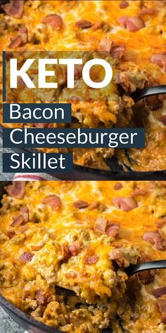 This One Pan Keto Bacon Cheeseburger Skillet is under 4 net carbs and is loaded with ground beef, bacon, a creamy sauce and cheese! This keto dinner is ready in under 20 minutes! #keto #lowcarb