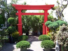 "Jackson Shrub Pagoda Arch 12' 2"" wide @ top of Arch 10' total height 8"" square vertical uprights pergola pagoda pergoda 8'8"" Vertical Pillar Height Asian Arches. Asian Pagoda Chinese Oriental Pagoda Red Arches"