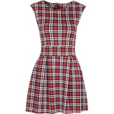 **Tartan Skater Dress by Wal G (€40) ❤ liked on Polyvore featuring dresses, red, zipper dress, plaid dress, tartan plaid dress, red plaid dress and walg