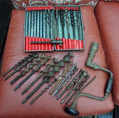 Vintage Wood Augers Drill Bits  and Old Crank Drill by Rusticcreek, $25.00