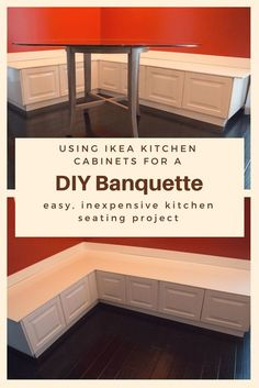 DIY Banquette from Ikea Cabinets & Kitchen Seating & Kitchen Renovation Source by staleyck The post Building Seating Supports for DIY Banquette & Super NoVA Adventures appeared first on May Design School. Kitchen Nook Bench, Ikea Kitchen Cabinets, Diy Kitchen Island, Kitchen Ideas, Kitchen Bench With Storage, Kitchen Design, Kitchen Booths, Kitchen White, Diy Cabinets