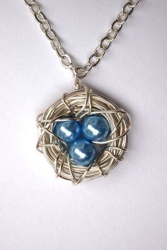 Silver Bird Nest Pendant with Light Blue Glass by BirdieAndDot, $12.00 birdie-and-dot-etsy-shop