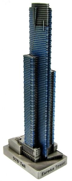 The Eureka Tower is located in Melbourne, Australia and was completed in 2006. This building was designed by Fender Katsalidis Architects and stands 975 feet tall with 91 floors. Australia's second tallest building due only to the lack of a spire. Our pewter replica stands 7 inches tall and is finished in antique pewter with a blue stain. This model's scale is 1 inch = 150 feet.