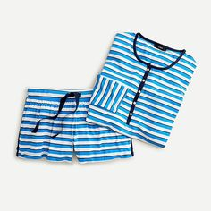 J.Crew: Softest Jersey Henley Pajama Set In Stripe For Women Sleepwear & Loungewear, Sleepwear Women, Kids Sleep, Henley Shirts, Pj Sets, Second Skin, Pajama Set, Lounge Wear, J Crew