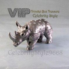 New Beautiful Luxurious High End Gorgeous Rhino Trinket Box Treasure Price Drop