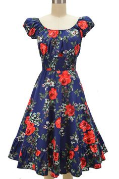 peasant top floral sun dress - navy blue & red rose