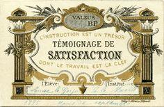 """Témoignage de Satisfaction """"L'instruction est un trésor dont le travail est la clef"""" 1895 (from http://souvenirsdecole.com/picture?/15) Imp. C. Allain, Elbeuf"""