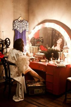 Vanity Fare | vintage vanity | movie star vanity | red | arched lighting