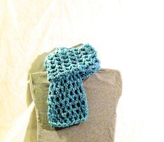 Bright blue, 9 stitch, double crocheted scarf