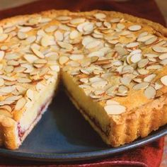 Italian Almond Tart 1 rolled-out round of tart dough 8 Tbs. stick) unsalted butter, at room temperature lb. almond paste, cut into cubes cup sugar 2 eggs cup unbleached all-purpose flour cup raspberry, plum or cherry jam cup sliced almonds Desserts Français, Delicious Desserts, Dessert Recipes, Italian Desserts, Plated Desserts, Italian Cookies, Italian Recipes, Canadian Recipes, English Recipes