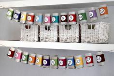 Calendario avvento con rotoli di cartone (anima carta igienica)