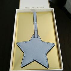 ⚡Sale⚡MK bag charm New in box with tags.  Large star, pale blue , saffiano leather  Bundle to save.  Just ask. Michael Kors Accessories