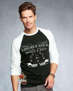 Linemen rock hooker haus- lineman shirts Lineman Shirts, Tank Man, Rock, Mens Tops, Fashion, House, Moda, Fashion Styles, Skirt