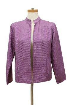 Eileen Fisher Purple Silk Quilted Open Front Jacket Size PM