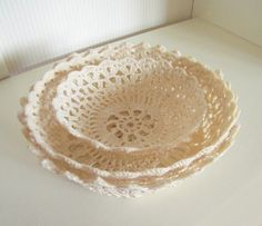 Crochet lace bowl doily lace basket crochet basket  decorative cottage chic bowl basket shabby chic bowl mothers day gift  ecru beige decor