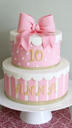 Birthday Cake Bow Cakes Pink Girly Cute Pretty