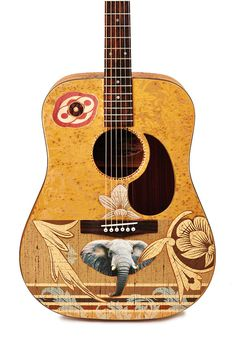 "Acoustic Guitar - ""Remember the Elephant"" - Modified, Altered, Decorator, Playable Art Instrument on Etsy, $375.00"