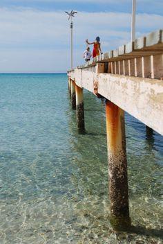 Pier walk at Pichilingue beach near La Paz, Mexico 2012