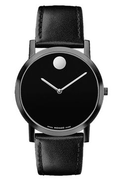 Movado 'Museum' Watch--- This is precisely how a father's taste in certain pieces figures in his daughter's life. And why Movado timepieces are beautiful. They never screamed for attention. Always so elegantly understated. <3