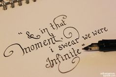 """And in that moment, I swear we were infinite.""  ― Stephen Chbosky, The Perks of Being a Wallflower"